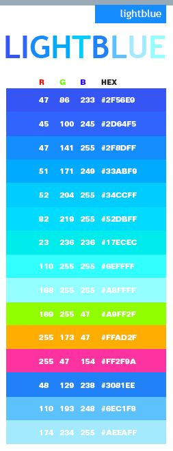 Best 25 sky blue color code ideas on pinterest bullet Color combinations numbers
