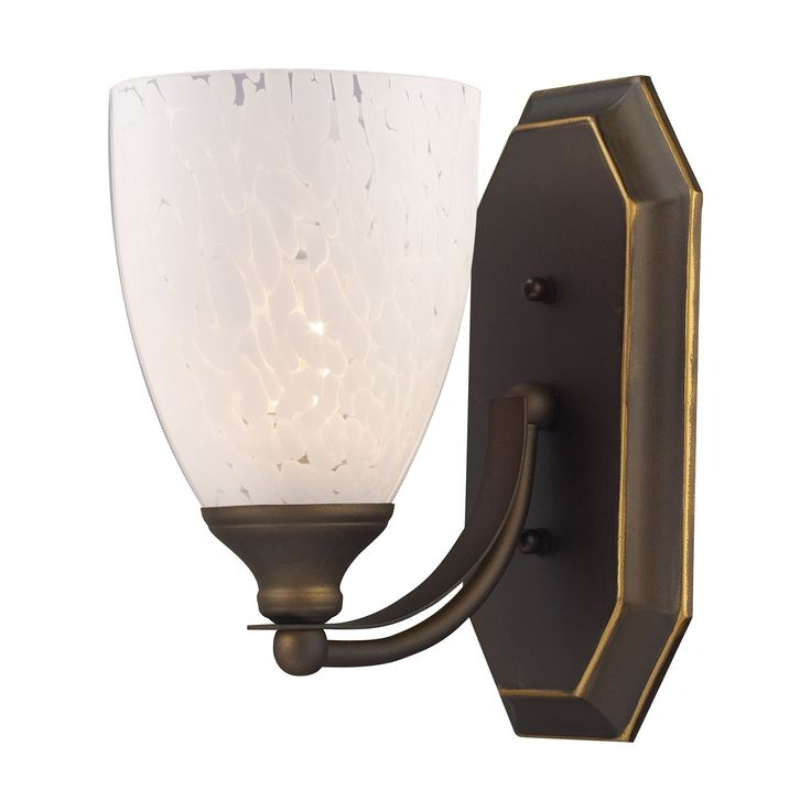 Bath And Spa 1 Light Vanity In Aged Bronze And Snow White Glass 570-1B-SW