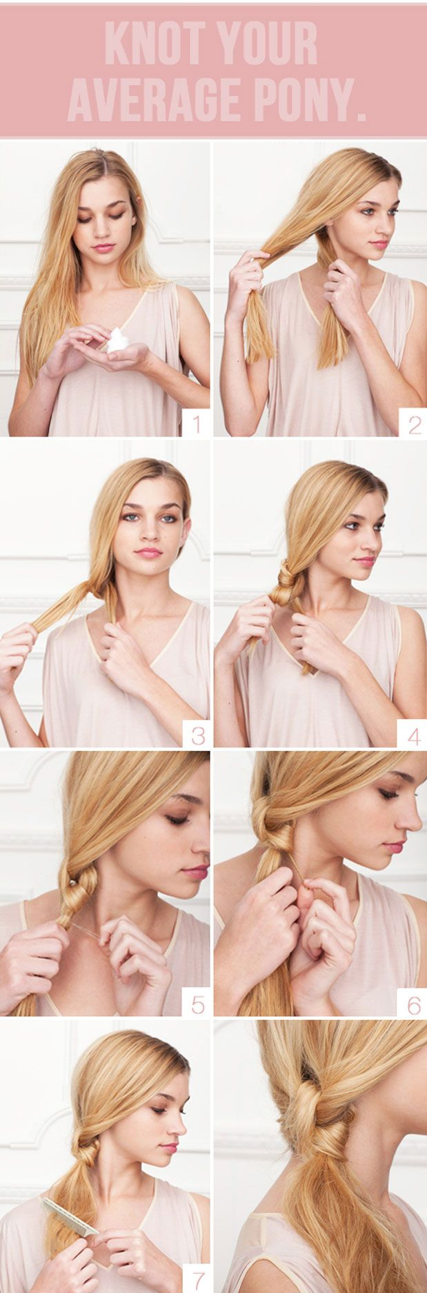 I think I can do this one.: Average Ponies, Hair Tutorials, Long Hair, Hairstyle, Side Ponytail, Hair Style, Hair Knot, Ponies Tail, Knot Ponytail