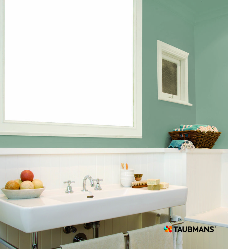 To keep costs down in your bathroom and kitchens have your tiles and cabinets in white and contrast with colour on the walls such as Aqua Queen.  This way you can change the look of your interior often without the costs of tilers and plumbers. #Taubmans