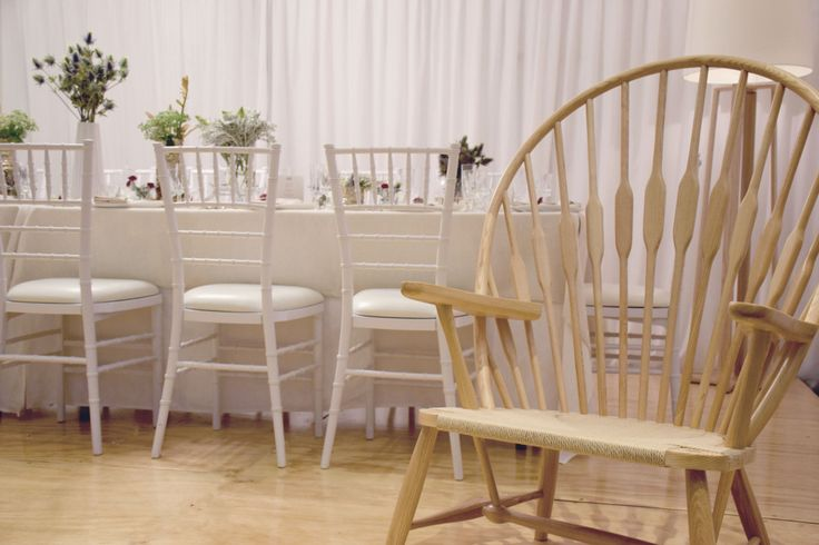 Our Peacock armchair and white Tiffany chairs  http://www.edeevents.com.au/peacock-arm-chair-in-ash