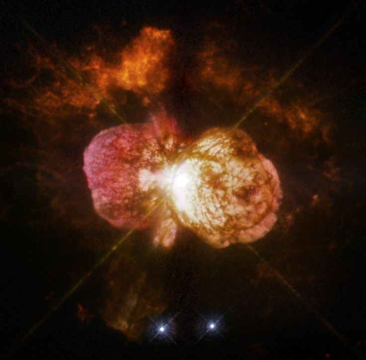 Eta Carinae's great eruption in the 1840s created the billowing Homunculus Nebula, imaged here by Hubble. Now about a light-year long, the expanding cloud contains enough material to make at least 10 copies of our sun. Astronomers cannot yet explain what caused this eruption.