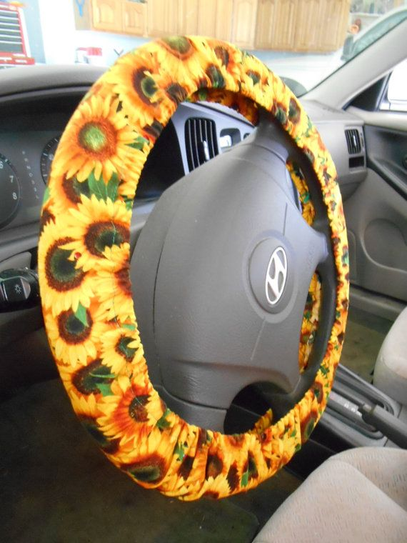 Sunflower Steering Wheel Cover Yellow On Green With Small Red Ladybugs Car