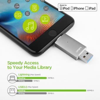 Clé USB 32Go pour iPhone iPad iPod Lightning USB à USB 3.0-OMARS-[Certifié Apple MFi] Mémoire Stick à l'Extension de Stockage et Transfert de Données de iOS Appareils et Mac PC Ordinateur-Gris