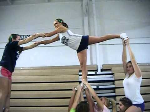 Cheer pyramid - YouTube  this has 8 girls!! we can totally do this!