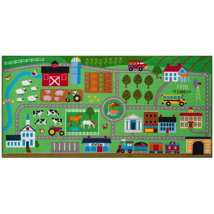 Farm Land play rug is designed to encourage creative play. Drive through pasture, farmlands and right into town. Visit the garden for fresh vegetables, the dairy cows for milk, and see the sheep and horses grazing in the fields. Next, drive into town to visit the bank, stop at the gazebo, or hop on the train! There are hours of creative play in their colorful nylon rug. Durable, 100% nylon rug backed with non-skid latex.