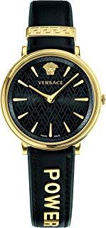 Versace Women's Analog Swiss-Quartz Watch with Leather Calfskin Strap VBP040…
