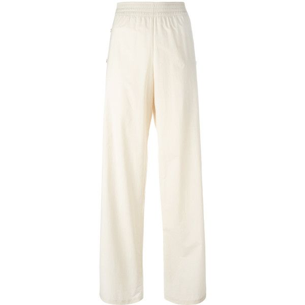 Maison Margiela wide-leg trousers ($1,075) ❤ liked on Polyvore featuring pants, wide leg pants, white wide leg pants, wide leg trousers, elastic waist pants and white trousers