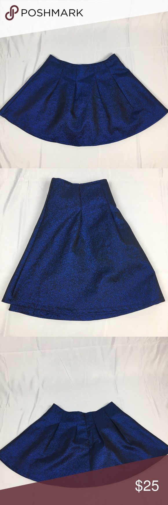 Francesca's Harper Shiny Blue Pleated A-line Skirt Fun and glamorous shimmering blue Pleated a-line skirt. Like-new condition. Size L. Approx measurements: waist - 32 inches and length is 17 inches. Perfect night out Skirt Francesca's Collections Skirts A-Line or Full