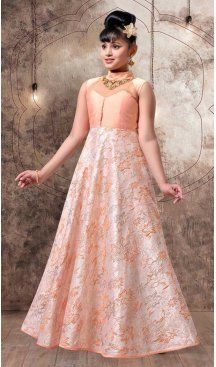Light Pink Color with Joot Foid Jecard Fabric,  Exclusive Designer Kids Gowns | FHK13525687