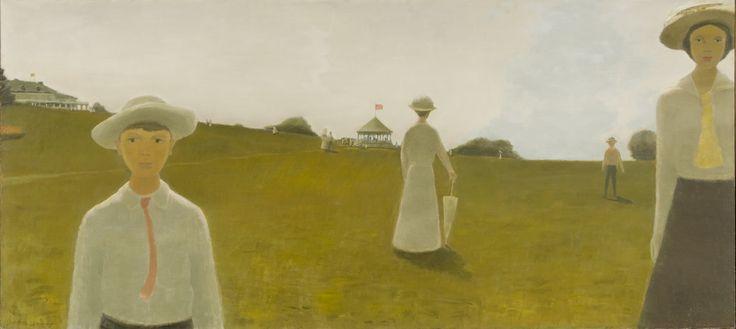"""Kent House, presently known as Manoir Montmorency, is visible at the top left. """"Summer of 1914"""" (L'été de 1914), 1965, Musée national des beaux-arts du Québec. #ArtCanInstitute"""