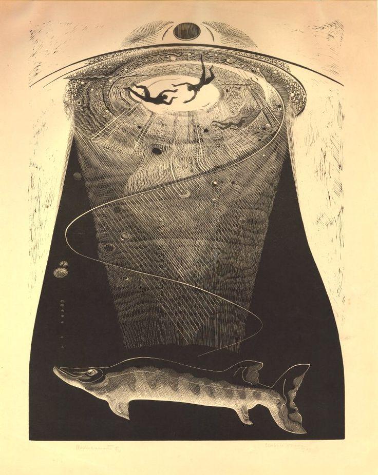 Gertrude Hermes ~ Undercurrents, 1939 (wood engraving)
