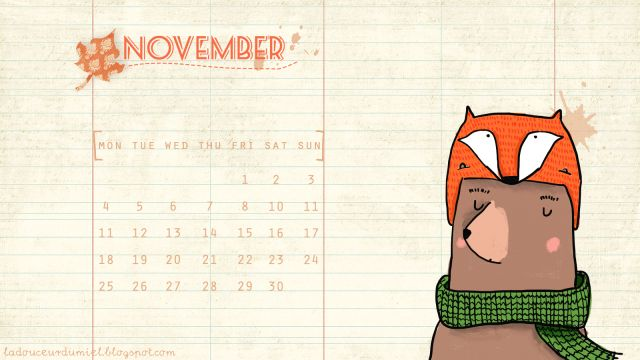 Welcome November! free November desktop wallpaper by La douceur du miel www.ladouceurdumiel.blogspot.it