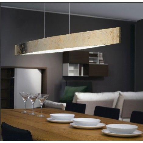 Suspendu en métal fini effet noyer, dessous blanc, idéal pour ilot, cuisine ou salle a manger.