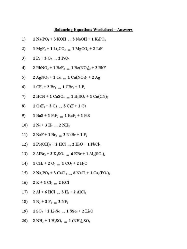 Stoichiometry Worksheet 1 Answers Balancing Equations ...