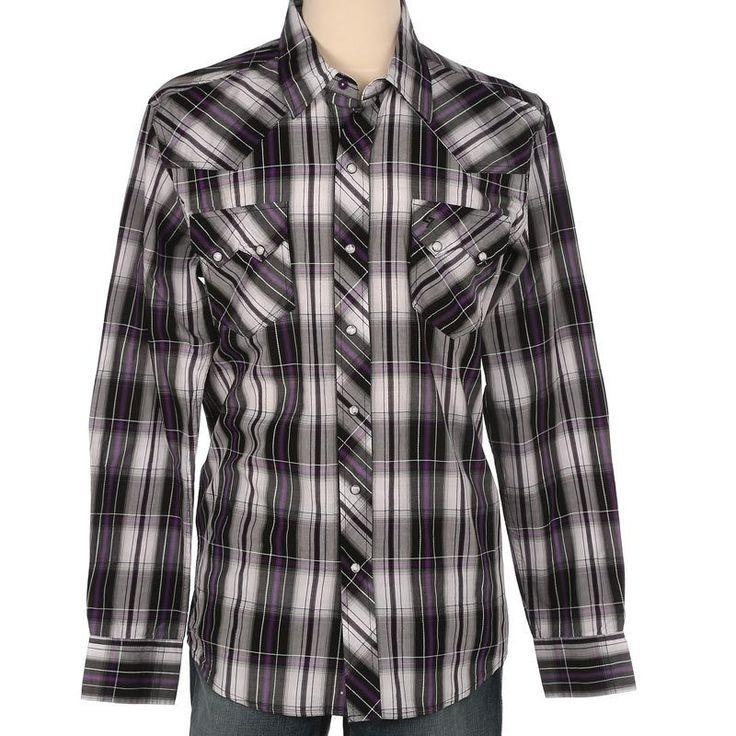 Cinch Men's Garth Brooks Sevens Purple Plaid Long Sleeve Shirt [HTW4003001]