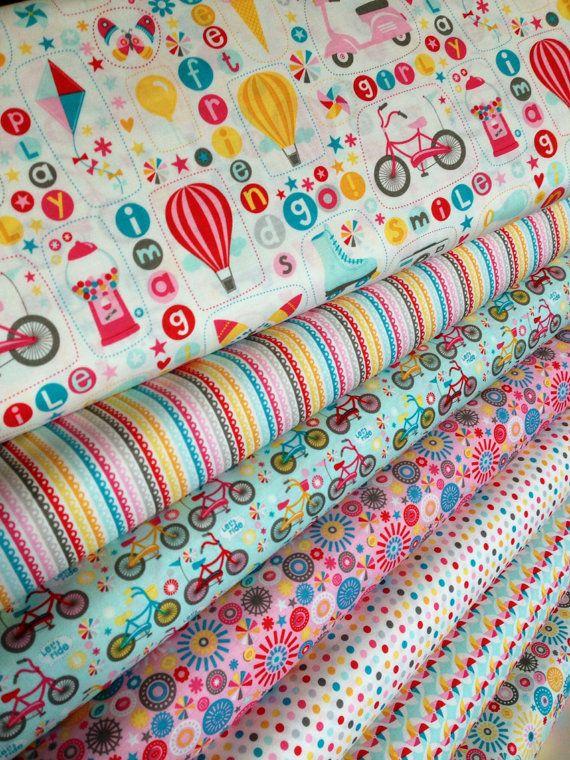 Girl Crazy Fun Girl Fabric bundle by Riley Blake Fabrics- 1/2 Yard Bundle, 7 total on Etsy, $35.00