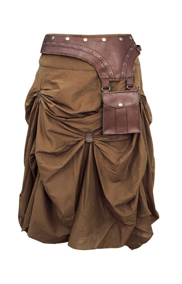 The Violet Vixen - Burnished Empire Steampunk Brown Skirt, $105.00 (http://thevioletvixen.com/clothing/burnished-empire-steampunk-brown-skirt/) Leather pouch included! Belted and adjustable gathered steam punk skirt steampunk