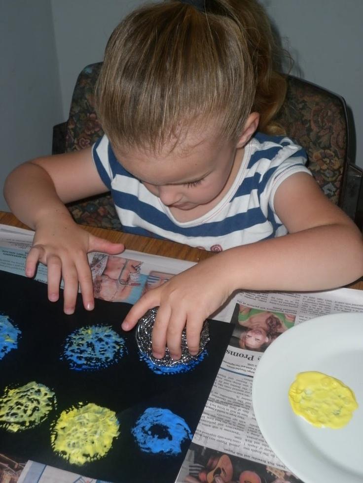fireworks art with scourer  VBS Preschool Craft (Day 1)