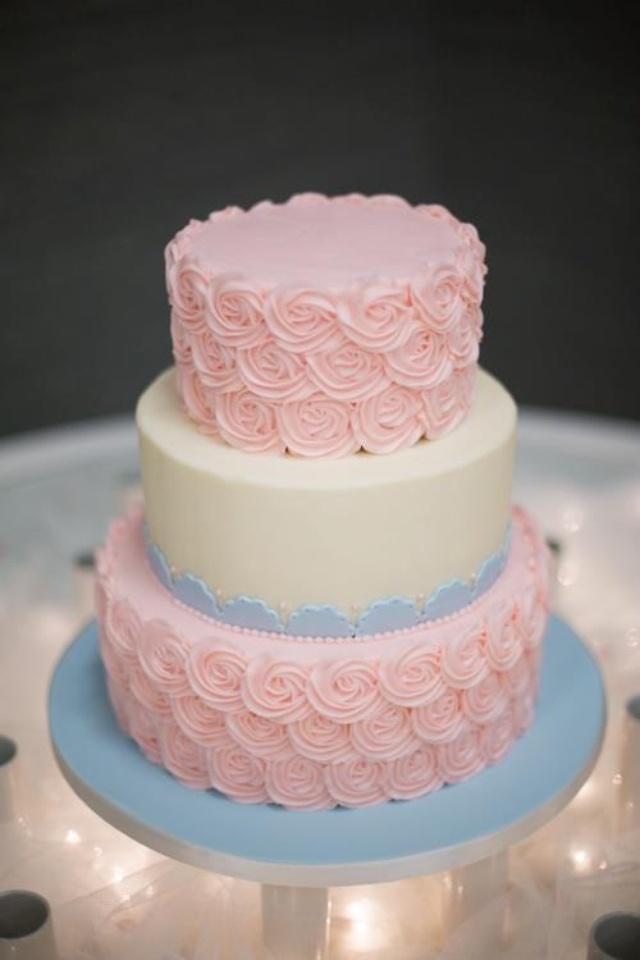 Wedding Cake Pink And Blue Rosets