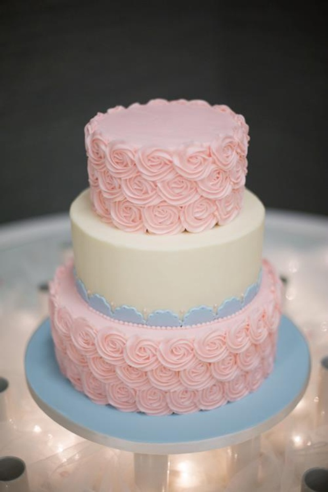 blue pink and gold wedding cake wedding cake pink and blue rosets wedding 11999