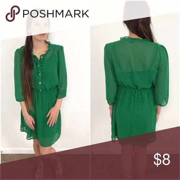 Forever 21 🍀 Kelly Green Dress with Slip Forever 21 🍀 Kelly Green Dress with Slip. Size Large, in great condition. Super pretty dressed up or more casual. Fun for spring and summer. 📦Bundle with another item for 15% discount. Forever 21 Dresses Mini
