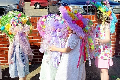 Easter Hat Parade. Hats made by the children.