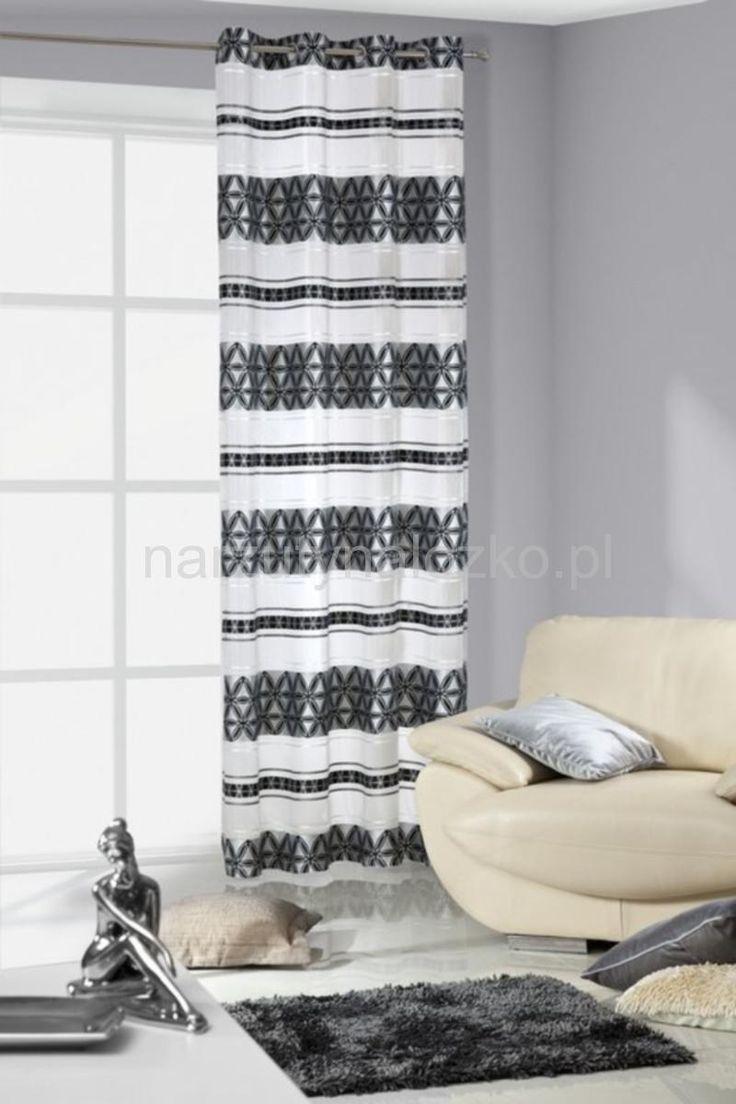 Gotowa zasłona biała z czarno stalowym wzorem