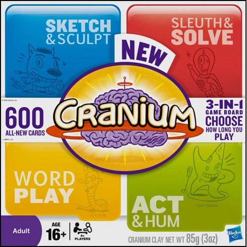 Cranium 2.0 Board Game: The first-ever complete refresh of Cranium game! This smash-hit, award-winning board game brings friends together through a variety of activities that provide something for everyone. Now with 600 all-new cards and an innovative three-way folding game board that allows players to choose the length of game! Intended for four or more adults.  $29.99  http://www.calendars.com/Trivia-Games/Cranium-2.0-Board-Game/prod201100010821/?categoryId=cat430002=cat430002#