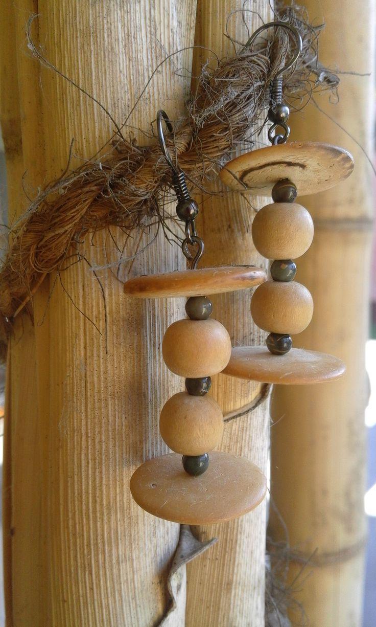 #earrings #wood #wooden #brown #beads