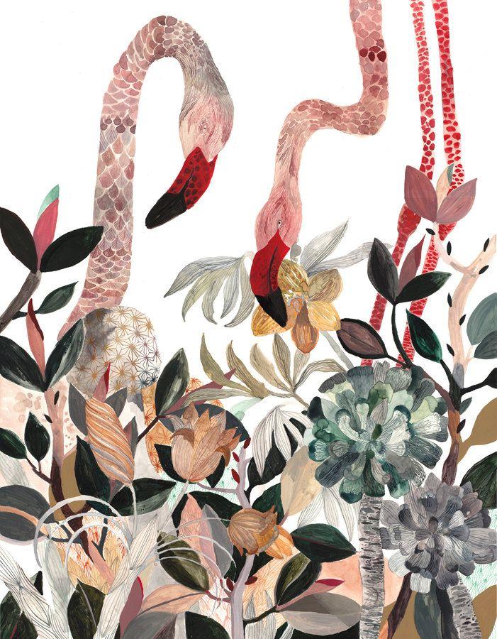 Two Flamingos - Large Archival Print. $40.00, via Etsy.