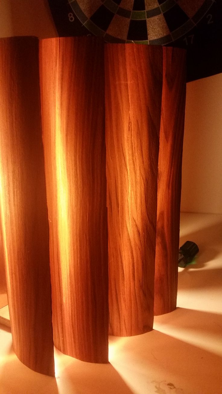 Fabulous UNSW Industrial Design student Lachlan Nicholls created this lamp that consists of NAV veneer laminated onto copper shim to give it a orange glow. Just stunning!