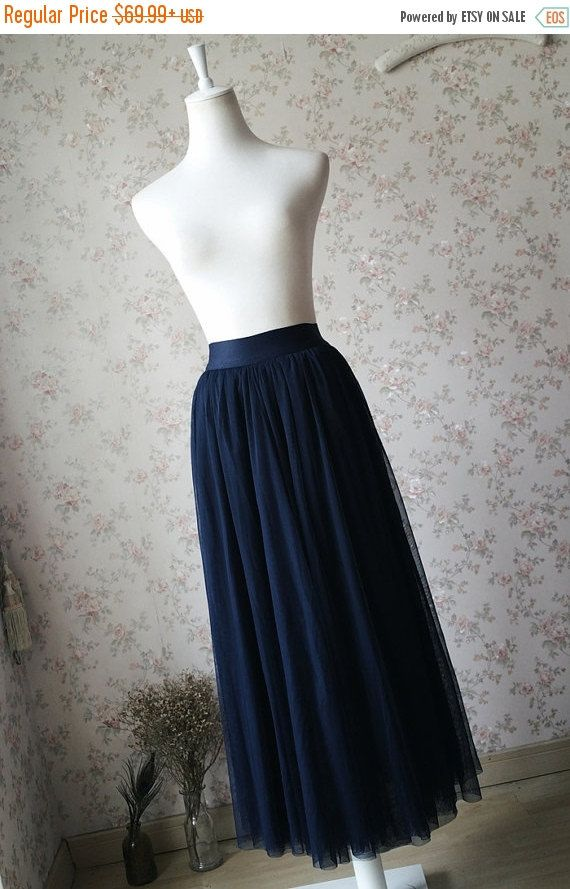 2016 Navy Maxi Tulle skirt. Women Maxi Skirt. by Dressromantic