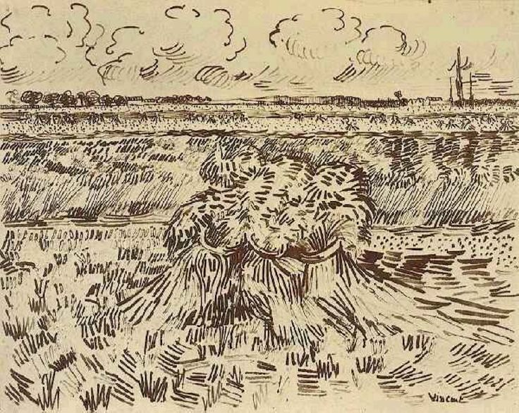 Van Gogh, Wheat Field with Sheaves,(tarweveld met korenschoven), juni 1888 ,24x32cm  Staatliche Museen zu Berlin rietpen,pen,bruine inkt op velijnpapier