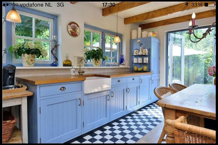 25 beste idee n over keuken idee n rood op pinterest kleine keukens en planken - Keuken blauw en wit ...