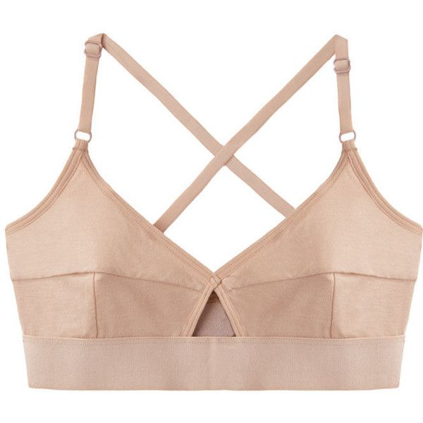 BASE range Lady Bra (55 AUD) ❤ liked on Polyvore featuring intimates, bras, tops, underwear, lingerie, bamboo bra, nude bra, cutout bra, strappy bra and strappy lingerie