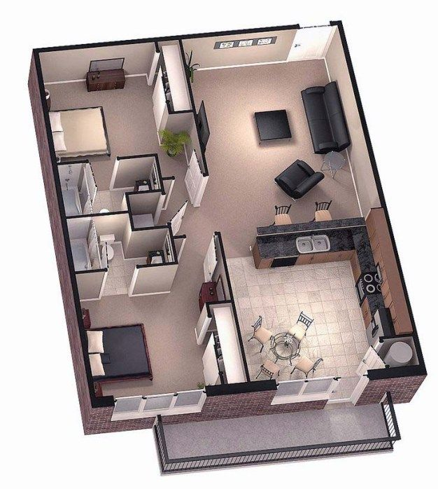 Two Bedroom Tiny House Floor Plans open planning                                                                                                                                                                                 More