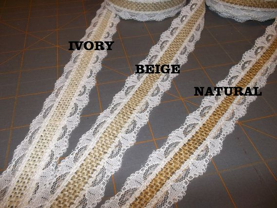 Burlap with White Lace Ribbon  1 inch x 3 yards by HouseofBurlap, $6.00
