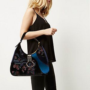 Black embossed velvet slouch handbag