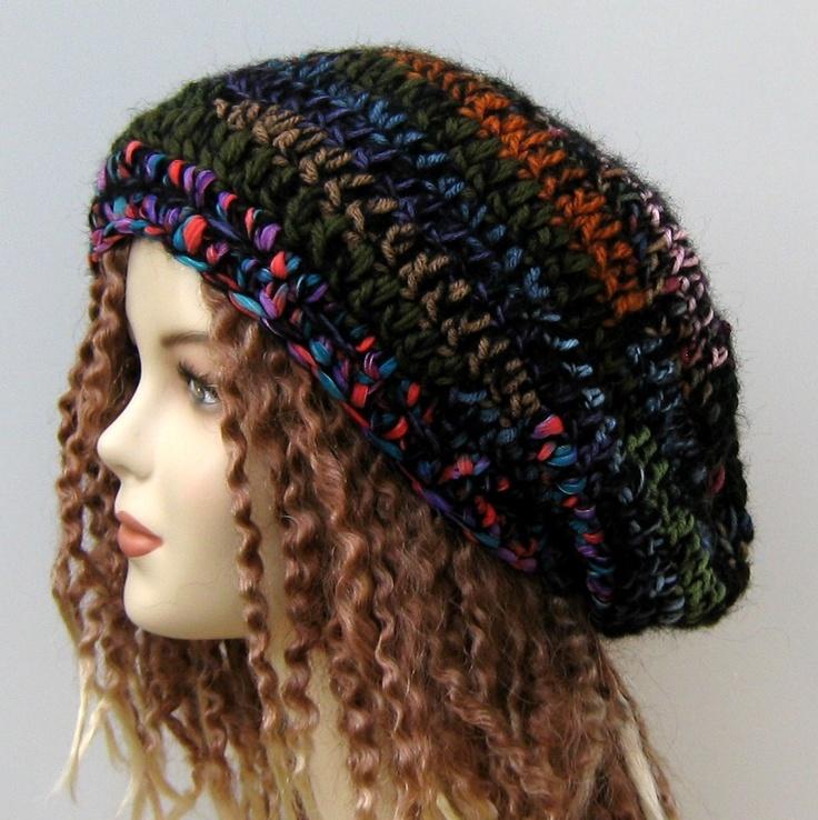 Black Patchwork wool blend hippie dreadlock dread tam beanie hat  $ 25.00