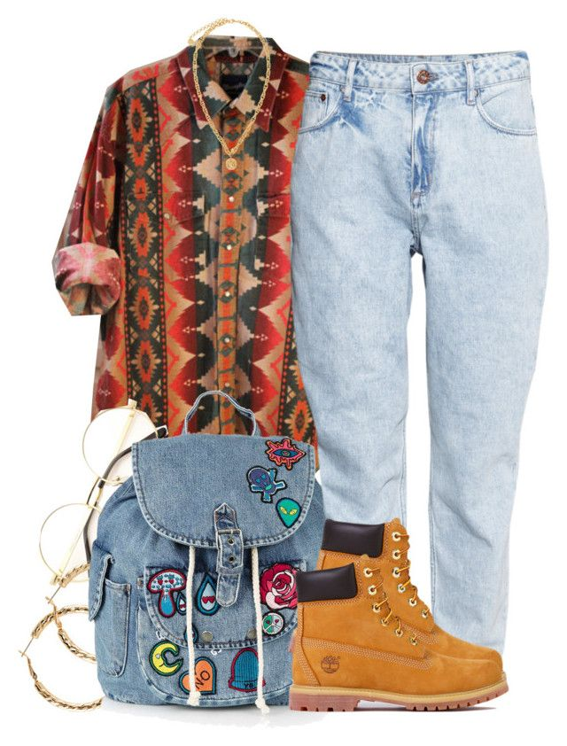 """fresh prince"" by trinsowavy ❤ liked on Polyvore featuring H&M, Topshop, Versace and Timberland"