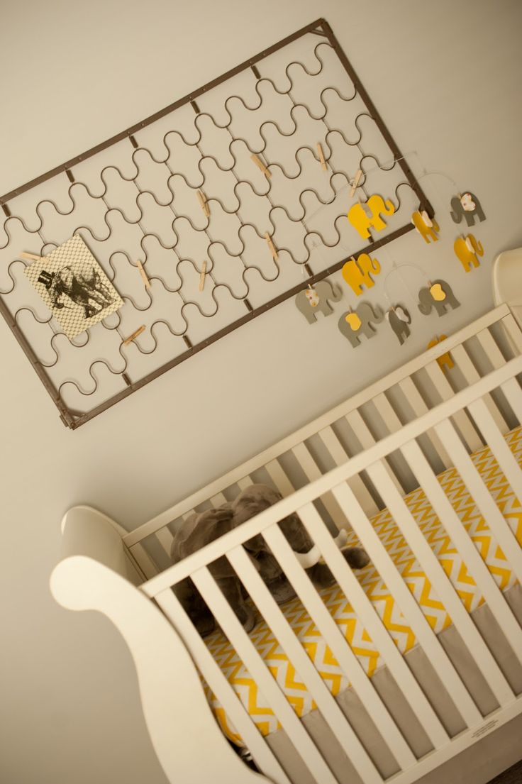 Baby crib mattress frame - Baby Gray Yellow Elephant Nursery Love The Piece Over The Crib That You Can Add Different Art Or Pictures To