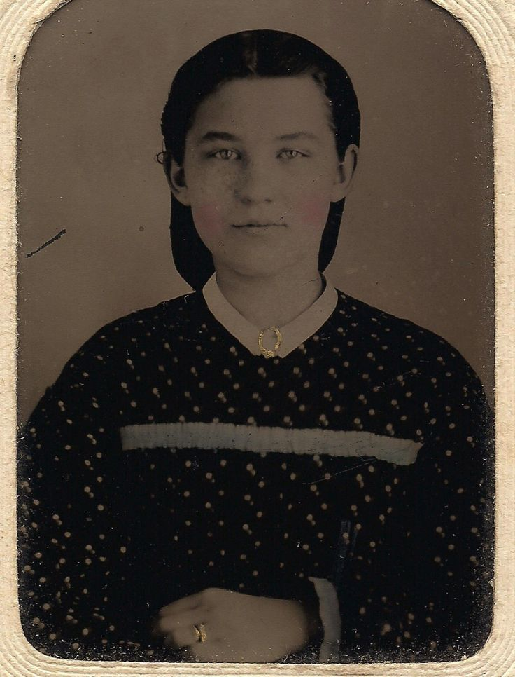 OLD VINTAGE ANTIQUE TINTYPE PHOTO BEAUTIFUL YOUNG GIRL IN PRINT DRESS by S.&C.E.   eBay