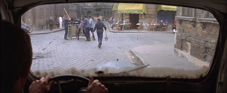 """Escape from Victory (1981) """"Victory"""" John Huston movie. Starring: Sylvester Stallone, Michael Caine, Pelé...  Scene: Paris Filming Location: Budapest Magdolna Street"""
