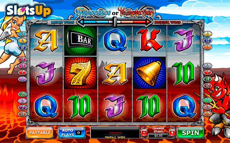 Which side would you take in Angel or Devil slot? The unique Angel or Devil free slot is the 5-reel, 20-payline by Playtech has two game modes, Scatter and Wild icons, free spins, extra Wilds, and the bonus game. Choose the side of a charming angel or visit the hell with hidden prizes while playing this slot at www.SlotsUp.com