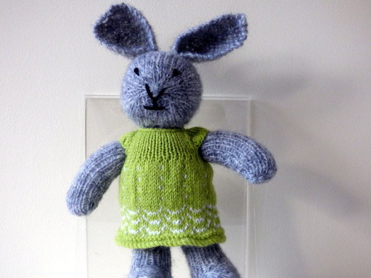 Knitted Rabbit, Knitted Bunny Rabbit, Hand Knitted Animal, Easter Bunny, Woodland Animal, Girl Rabbit Wearing Green Dress, Plushie Rabbit by TabbyCatCraftsShop on Etsy