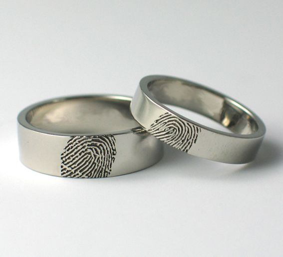 Palladium Fingerprint Wedding Rings