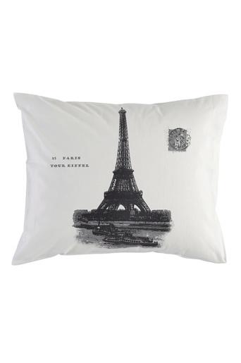 Valkoinen/harmaa Eiffel-tyynyliina
