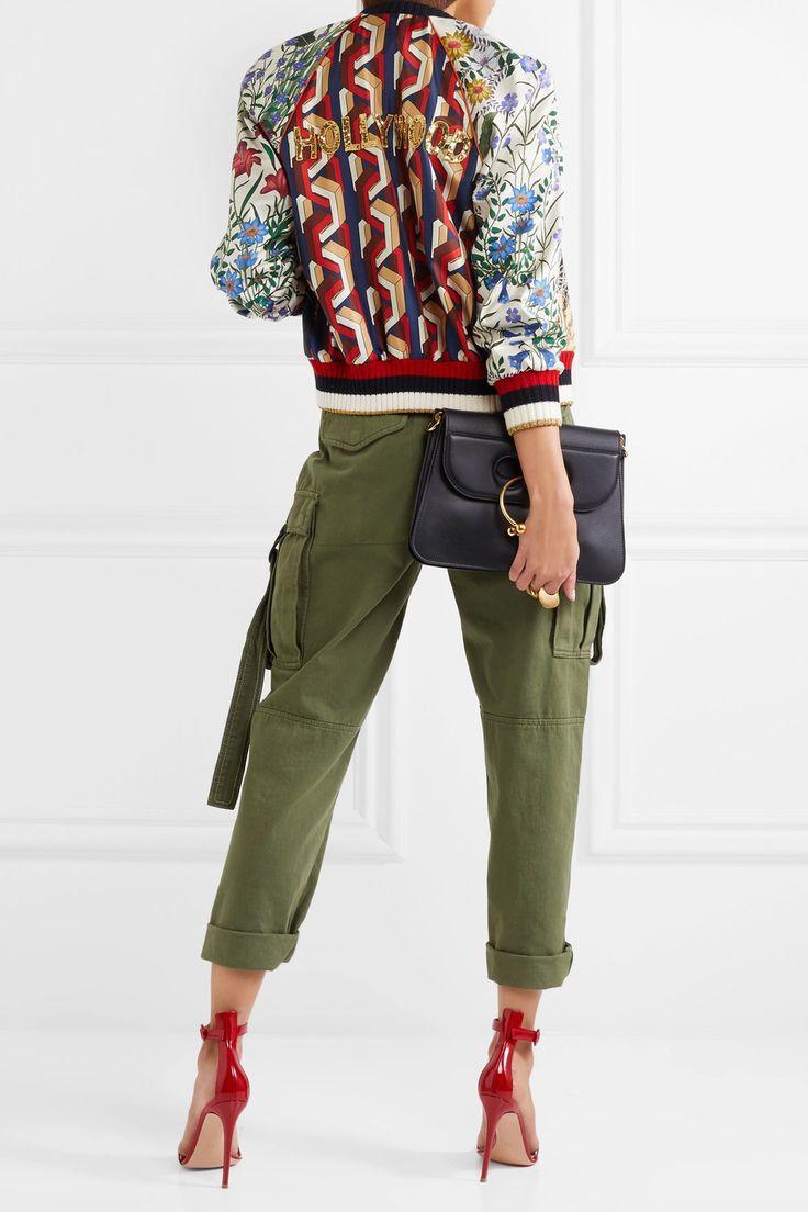 Gucci | Sequin-embellished printed silk-twill bomber jacket | NET-A-PORTER.COM