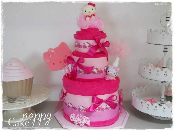 Gateau de serviette Hello Kitty  Gateau de Couches Nappy Cake  www.nappy-cake.fr https://www.facebook.com/NappyCakegateauxdecouches/